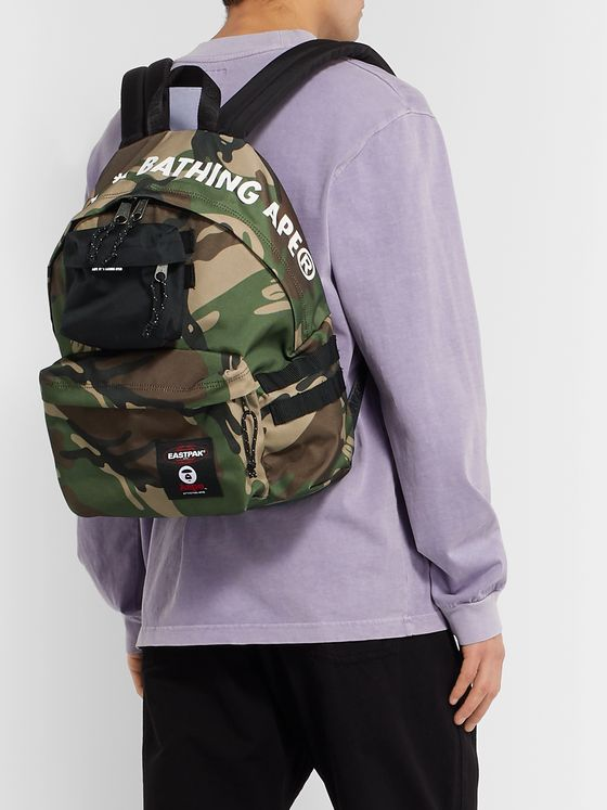 Eastpak + BAPE Padded Pak'r Camouflage-Print Canvas Backpack
