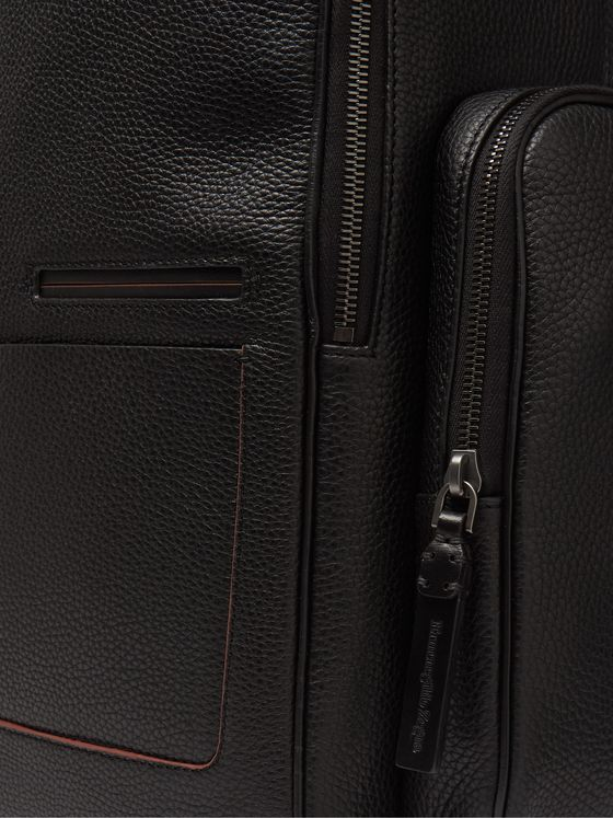 Ermenegildo Zegna Blazer Full-Grain Leather Backpack