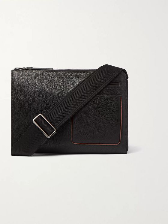 Ermenegildo Zegna Full-Grain Leather Messenger Bag