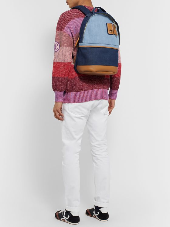 Loewe Eye/LOEWE/Nature Logo-Debossed Leather-Trimmed Colour-Block Denim Backpack