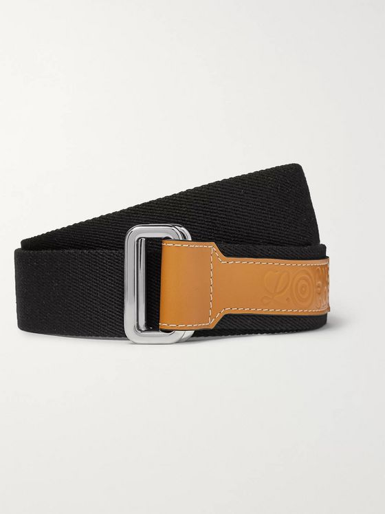 Loewe Eye/LOEWE/Nature 4cm Black Leather-Trimmed Canvas Belt