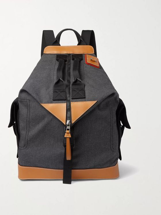 Loewe Convertible Leather-Trimmed Canvas Backpack