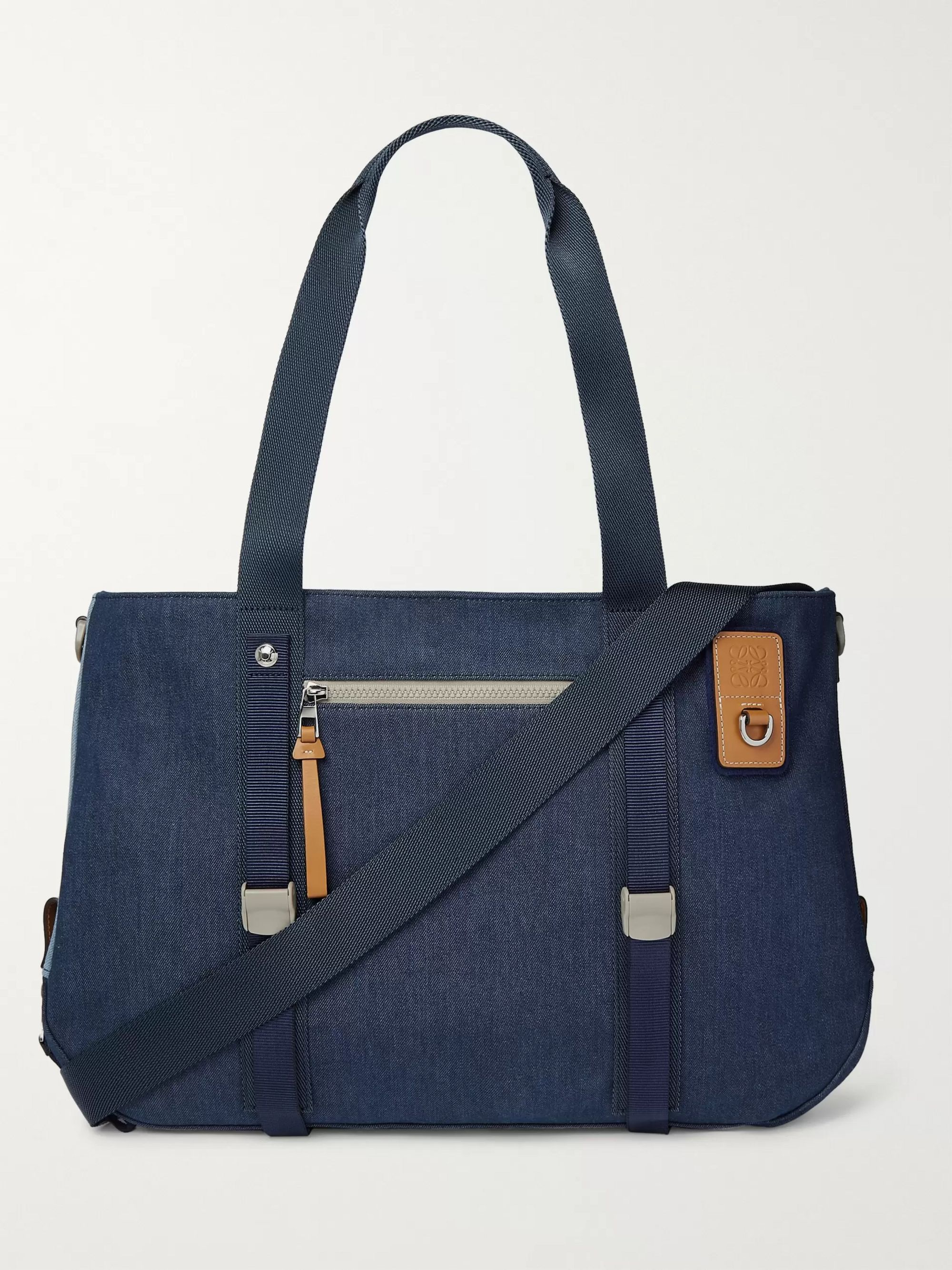 Loewe Eye/LOEWE/Nature Leather-Trimmed Colour-Block Denim Tote Bag
