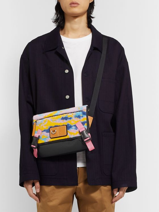 Loewe Eye/LOEWE/Nature Logo-Debossed Leather-Trimmed Printed Fleece and Canvas Messenger Bag