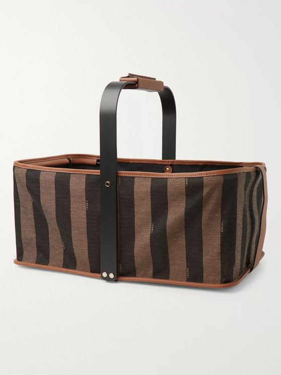 Fendi Packable Striped Logo-Jacquard Canvas and Leather Tote