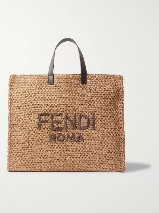 Fendi Logo-Embroidered Leather-Trimmed Woven Raffia Tote Bag