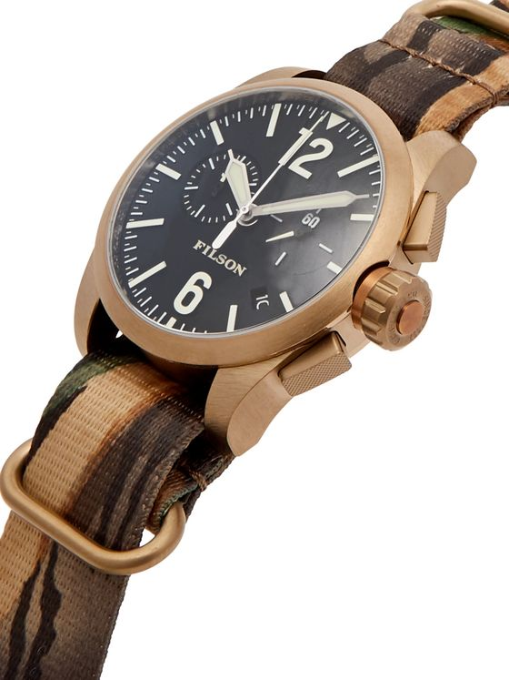 Filson Chronograph Gold-Tone Stainless Steel and Camouflage-Print Webbing Watch