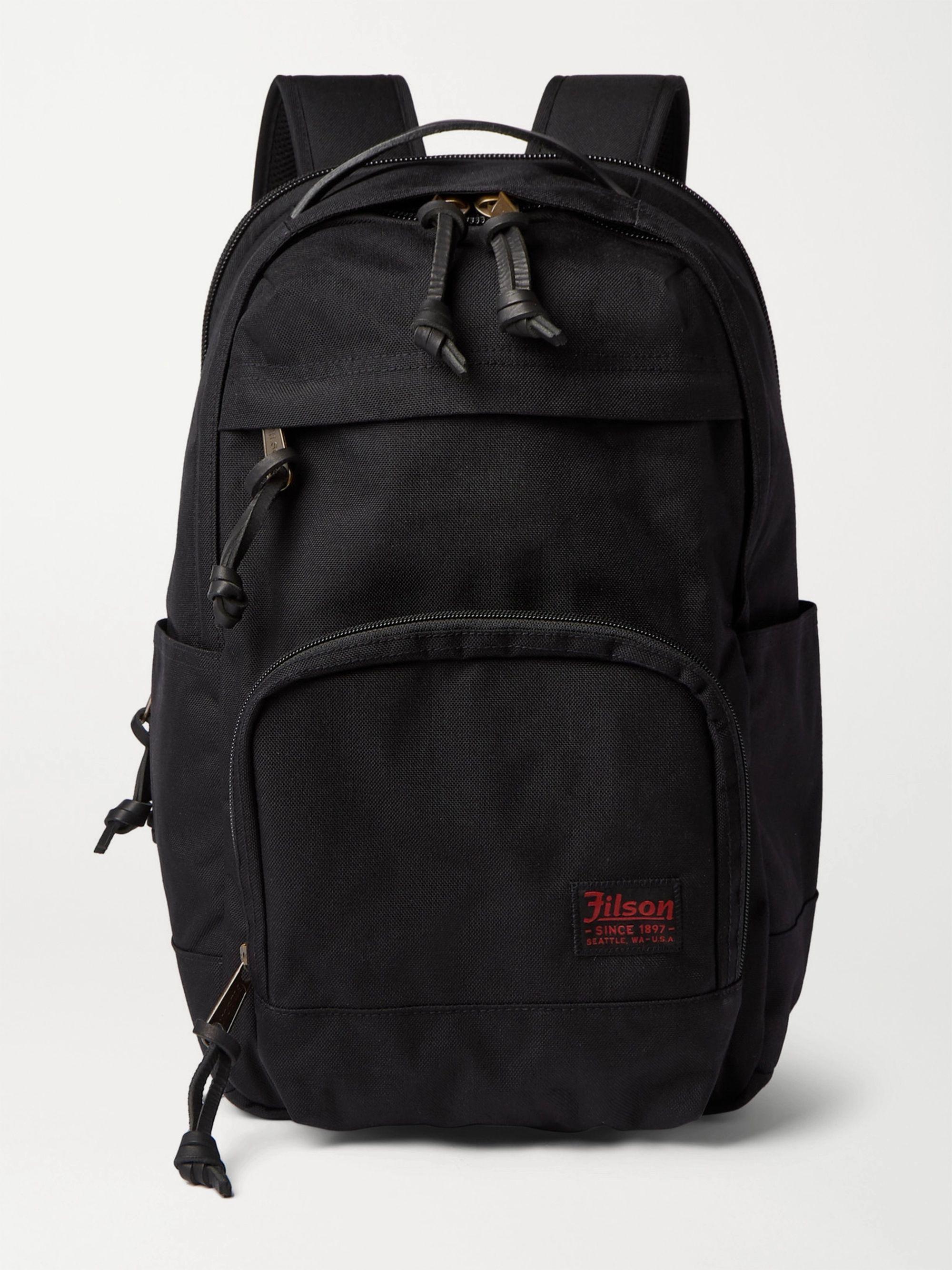 FILSON Dryden Leather-Trimmed CORDURA Backpack,Navy