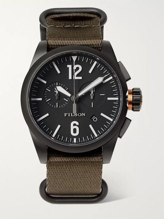 Filson Chronograph Stainless Steel and Webbing Watch