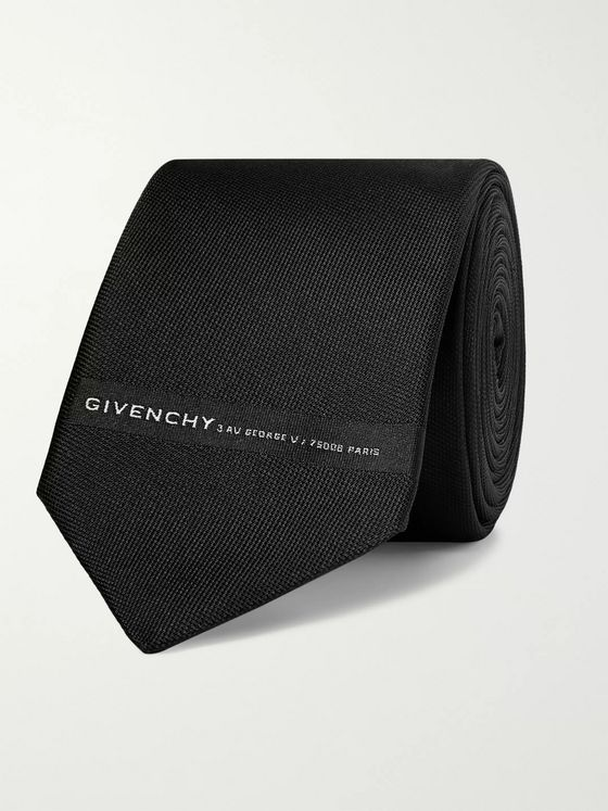 Givenchy 7cm Logo-Embroidered Textured-Silk Tie