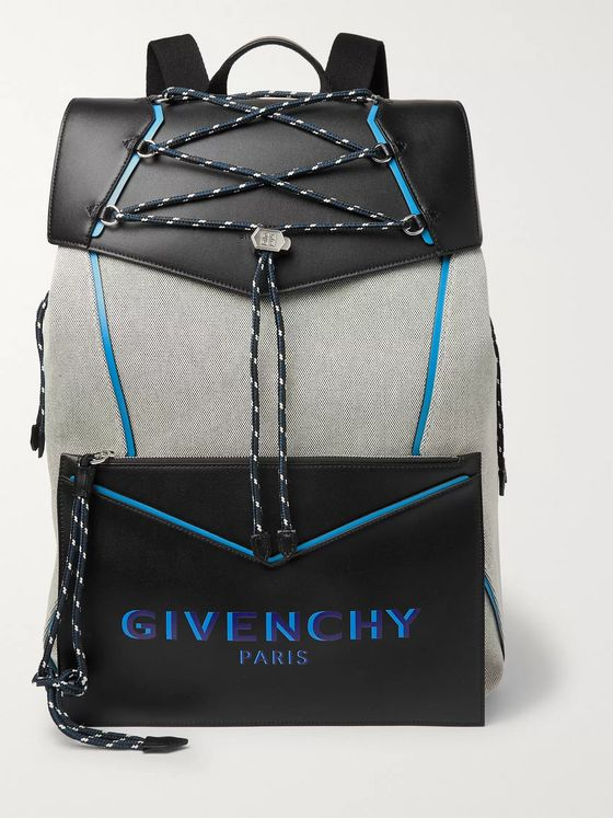 Givenchy Bond Logo-Print Leather and Canvas Backpack