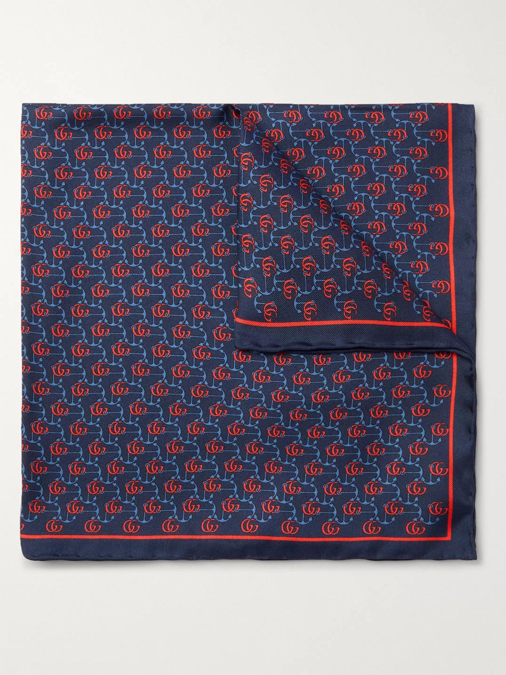 구찌 포켓 스퀘어 Gucci Printed Silk-Twill Pocket Square,Blue