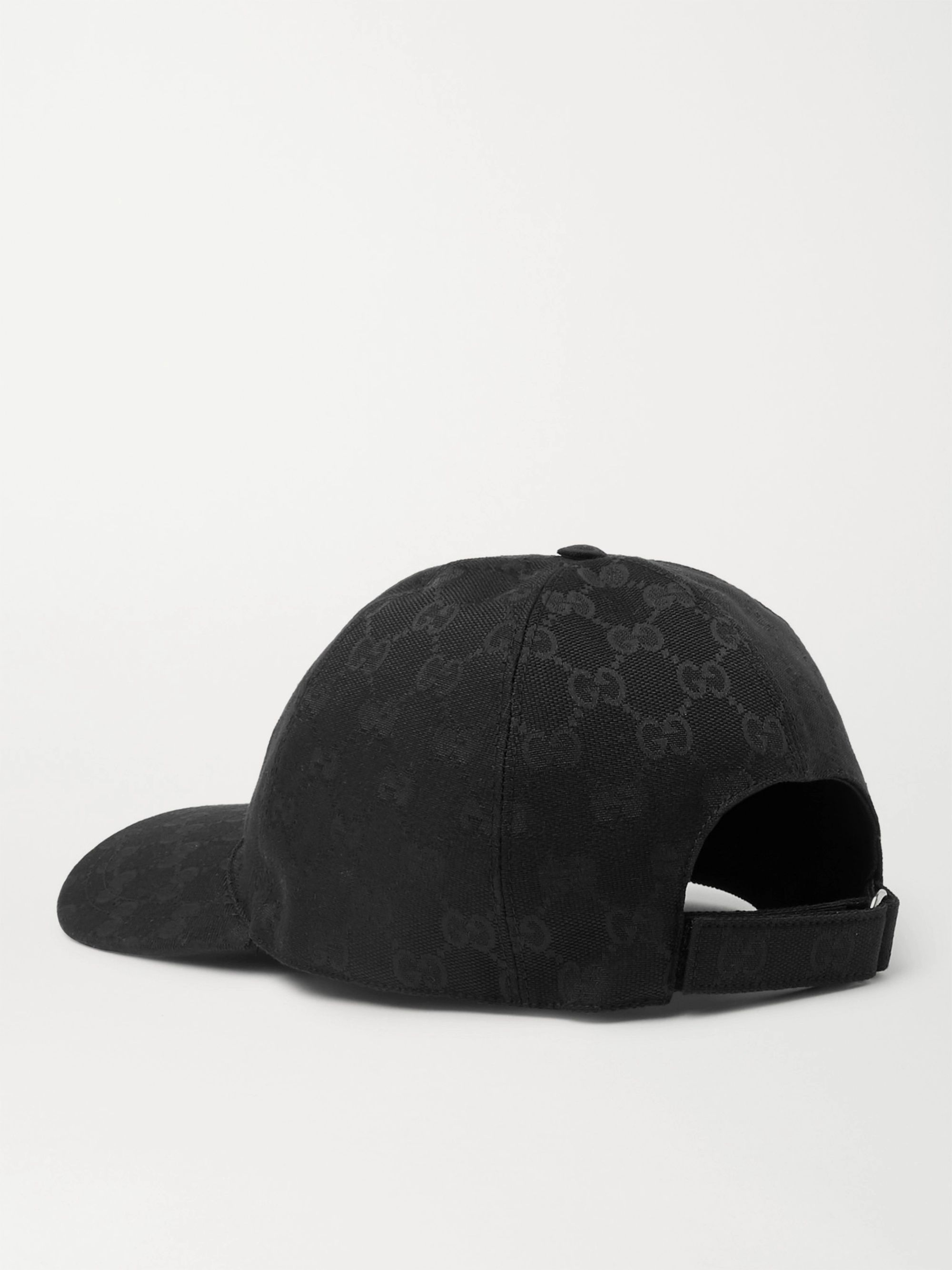 Gucci Leather-Trimmed Monogrammed Canvas Baseball Cap