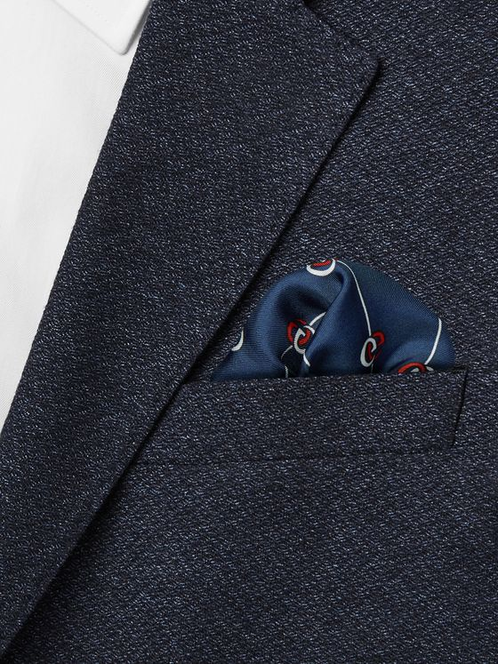 Gucci Logo-Print Silk-Twill Pocket Square