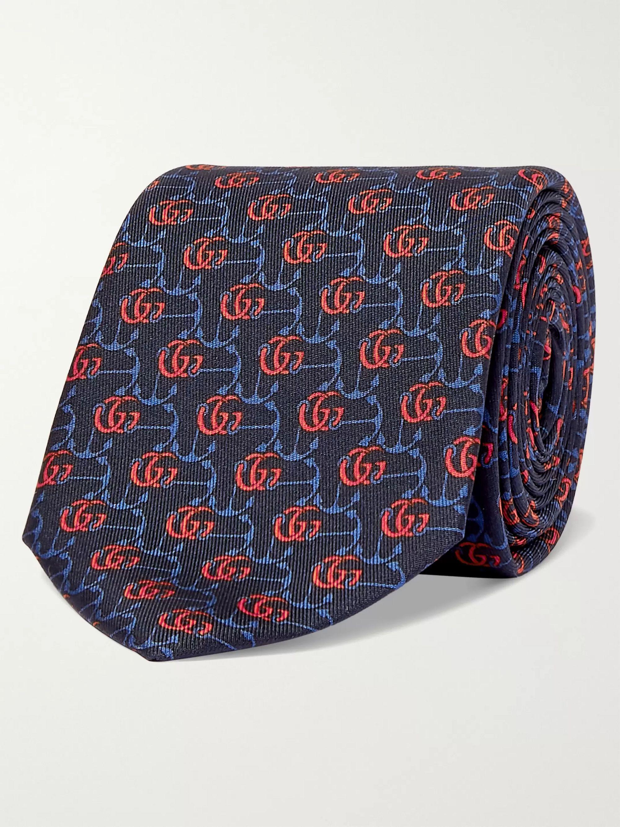 Navy 7cm Logo-Jacquard Silk-Twill Tie | Gucci | MR PORTER