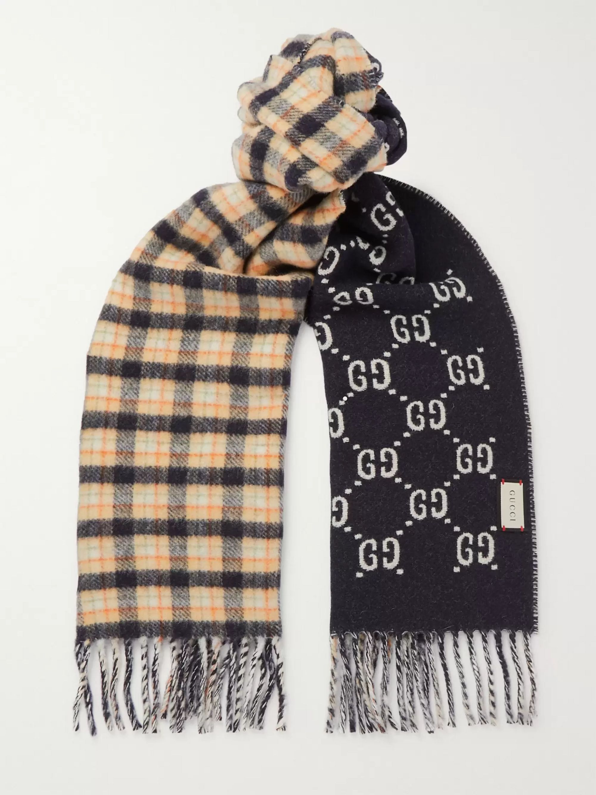 Gucci Logo-Jacquard Checked Wool Scarf