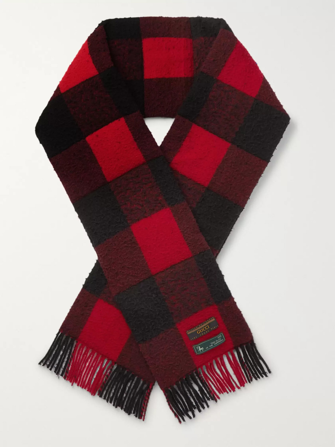 gucci - fringed padded checked wool scarf - men - red