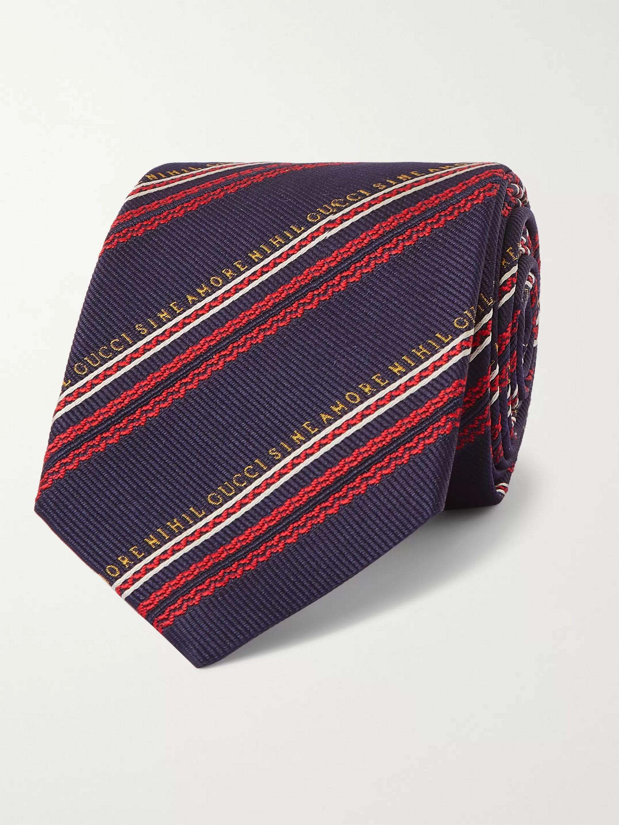 구찌 넥타이 Gucci 7.5cm Striped Silk and Wool-Blend Jacquard Tie,Blue