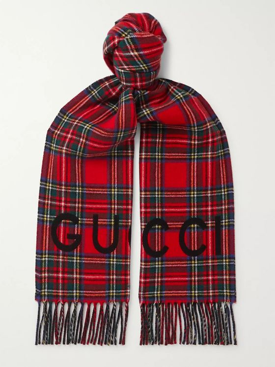 Gucci Logo-Print Checked Wool and Cashmere-Blend Scarf