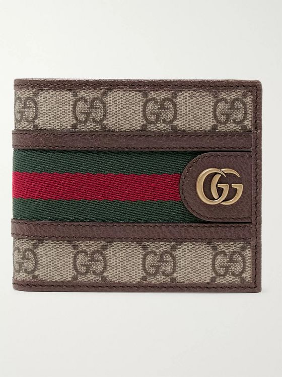 Gucci Ophidia Webbing-Trimmed Coated-Canvas Billfold Wallet