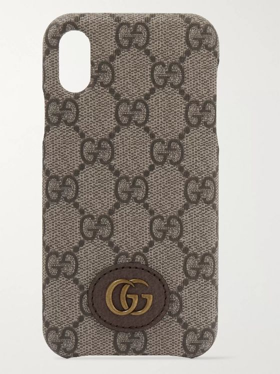GUCCI Ophidia Leather-Trimmed Monogrammed Coated-Canvas iPhone X and XS Case