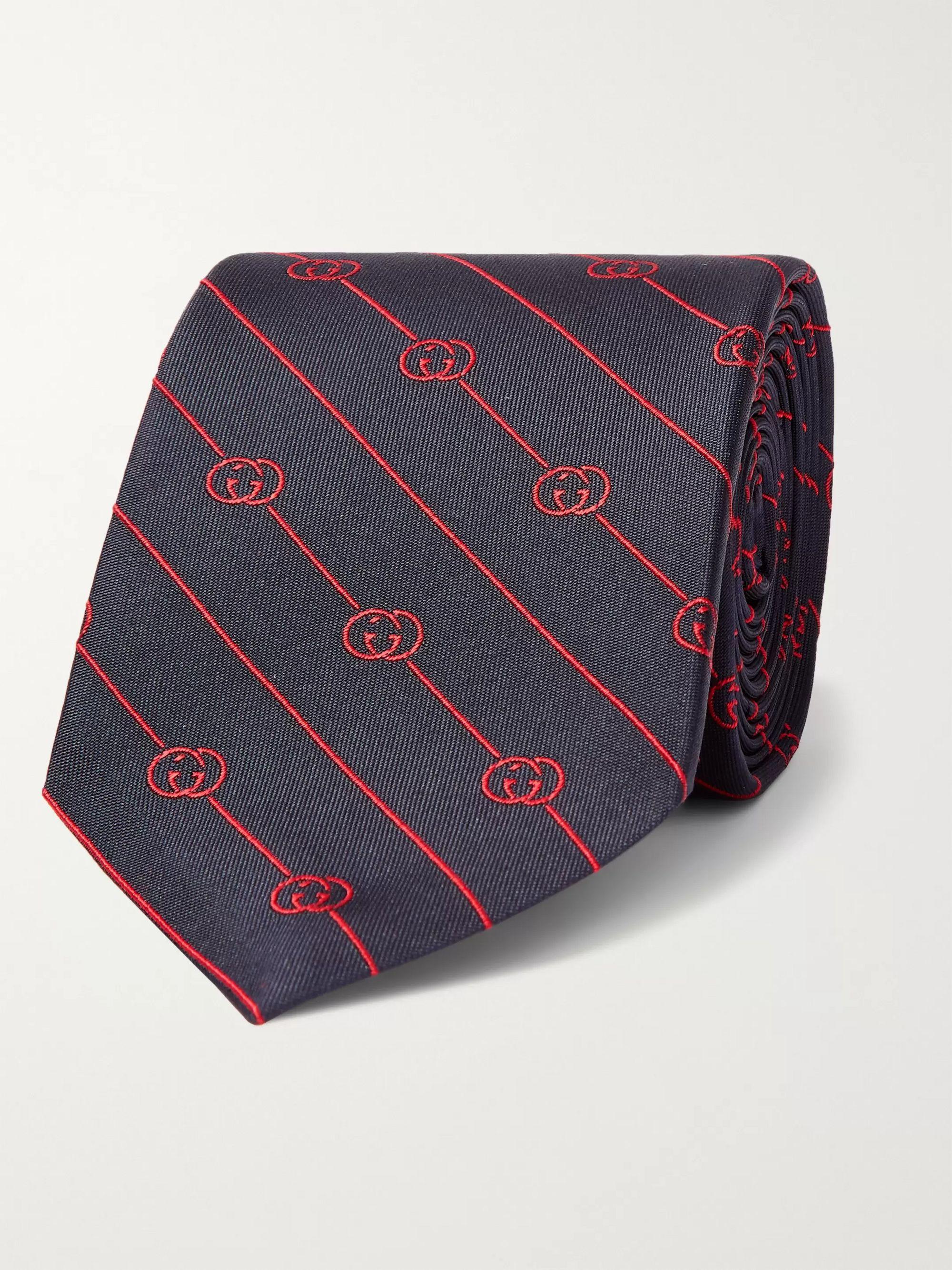 구찌 넥타이 Gucci 7.5cm Logo-Jacquard Silk-Twill Tie,Blue