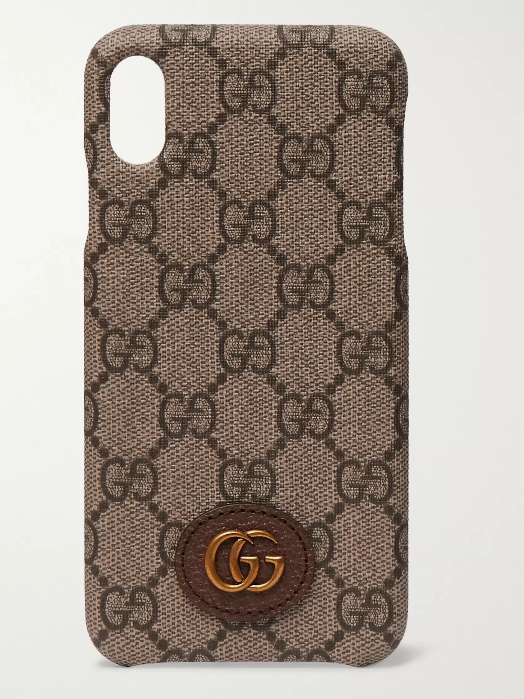 Gucci Opidia Leather-Trimmed Monogrammed Coated-Canvas iPhone XS Max Case