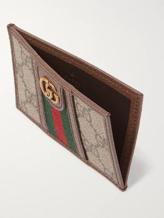 Gucci Ophidia Webbing-Trimmed Monogrammed Coated-Canvas and Leather Cardholder