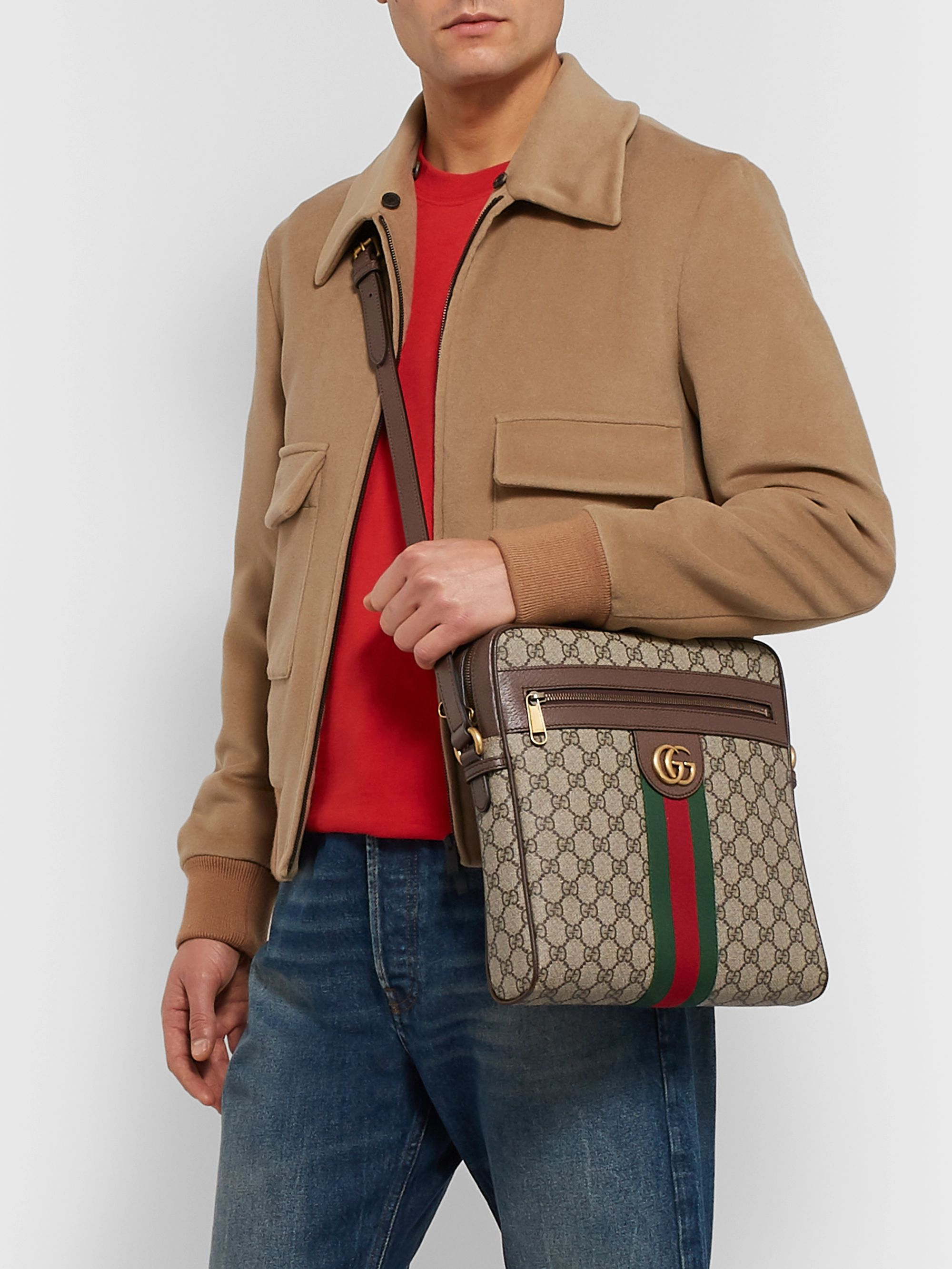 Gucci Ophidia Medium Leather-Trimmed Monogrammed Coated-Canvas Messenger Bag