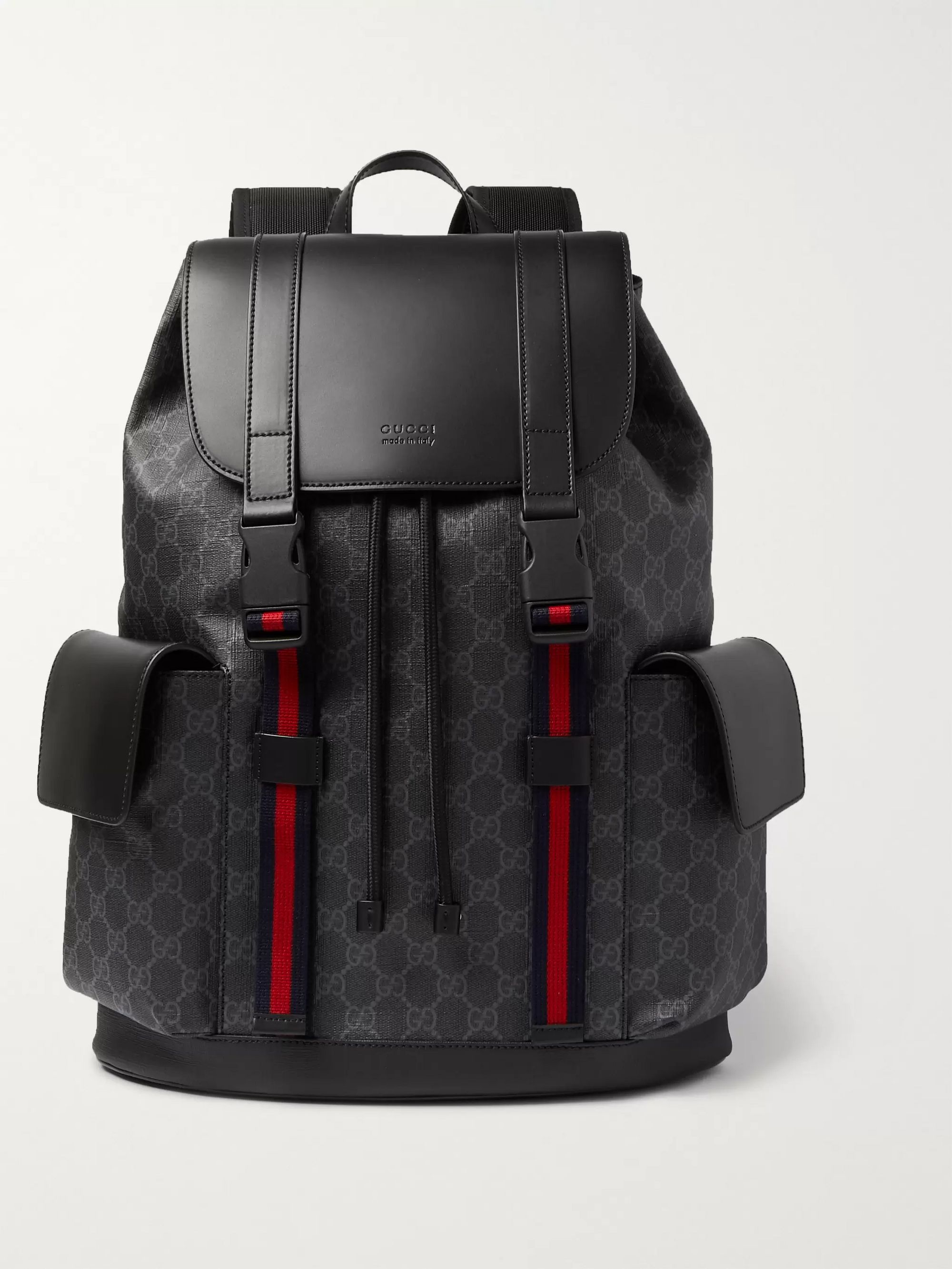 Gucci Monogrammed Coated-Canvas and Leather Backpack