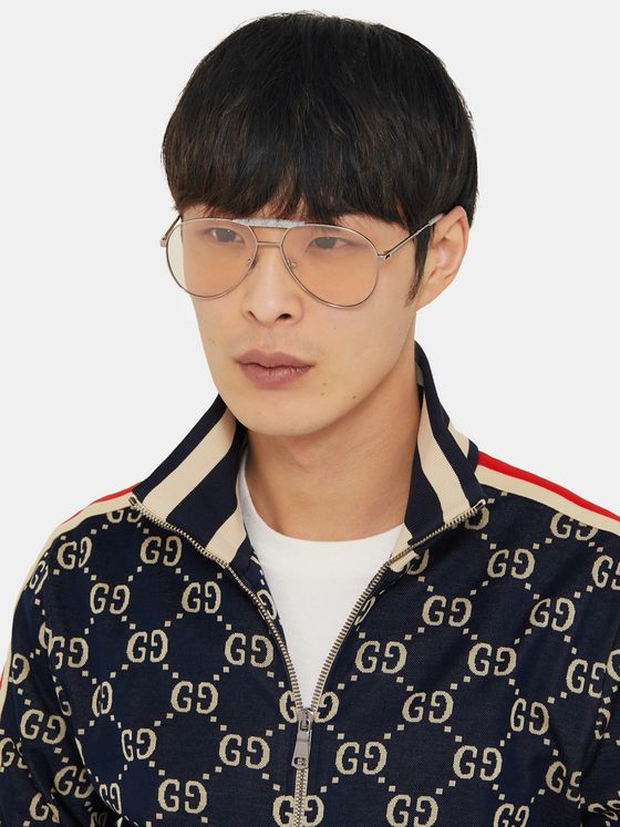 Gucci Aviator-Style Acetate and Silver-Tone Sunglasses