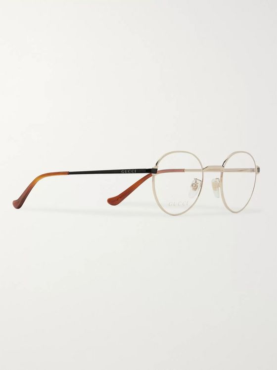 Gucci Round-Frame Gold-Tone and Acetate Optical Glasses