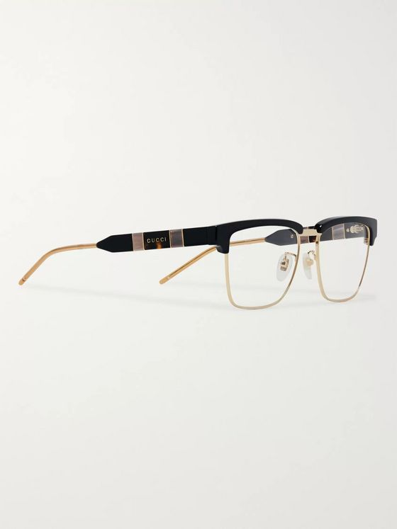 Gucci D-Frame Acetate and Gold-Tone Optical Glasses