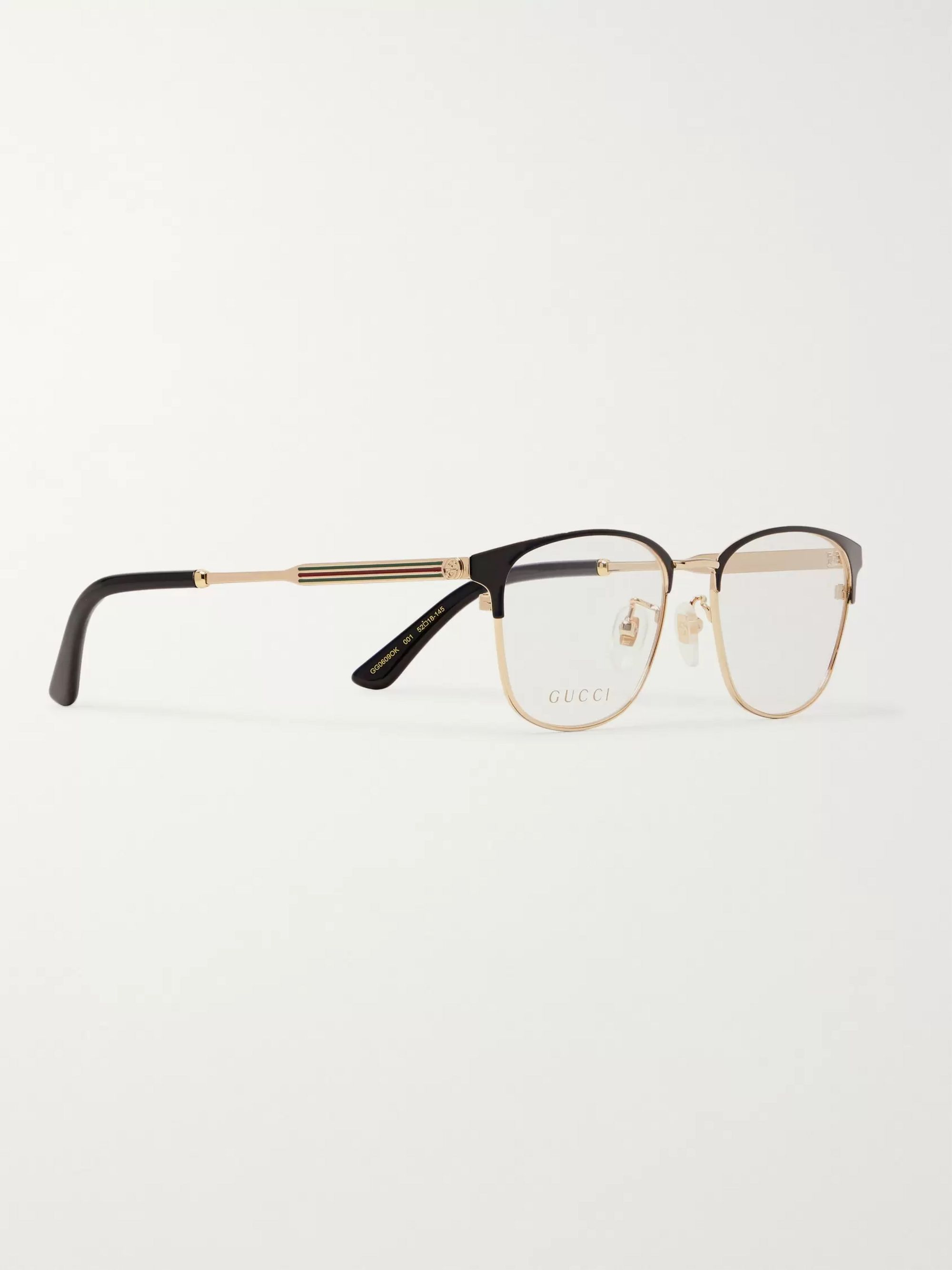 Gucci D-Frame Gold-Tone and Acetate Optical Glasses