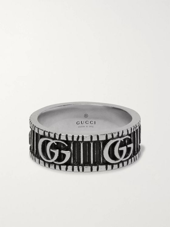 Gucci Logo-Embossed Sterling Silver Ring