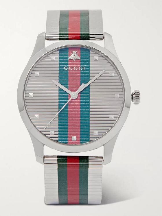 Gucci G-Timeless 42mm Striped Stainless Steel Watch