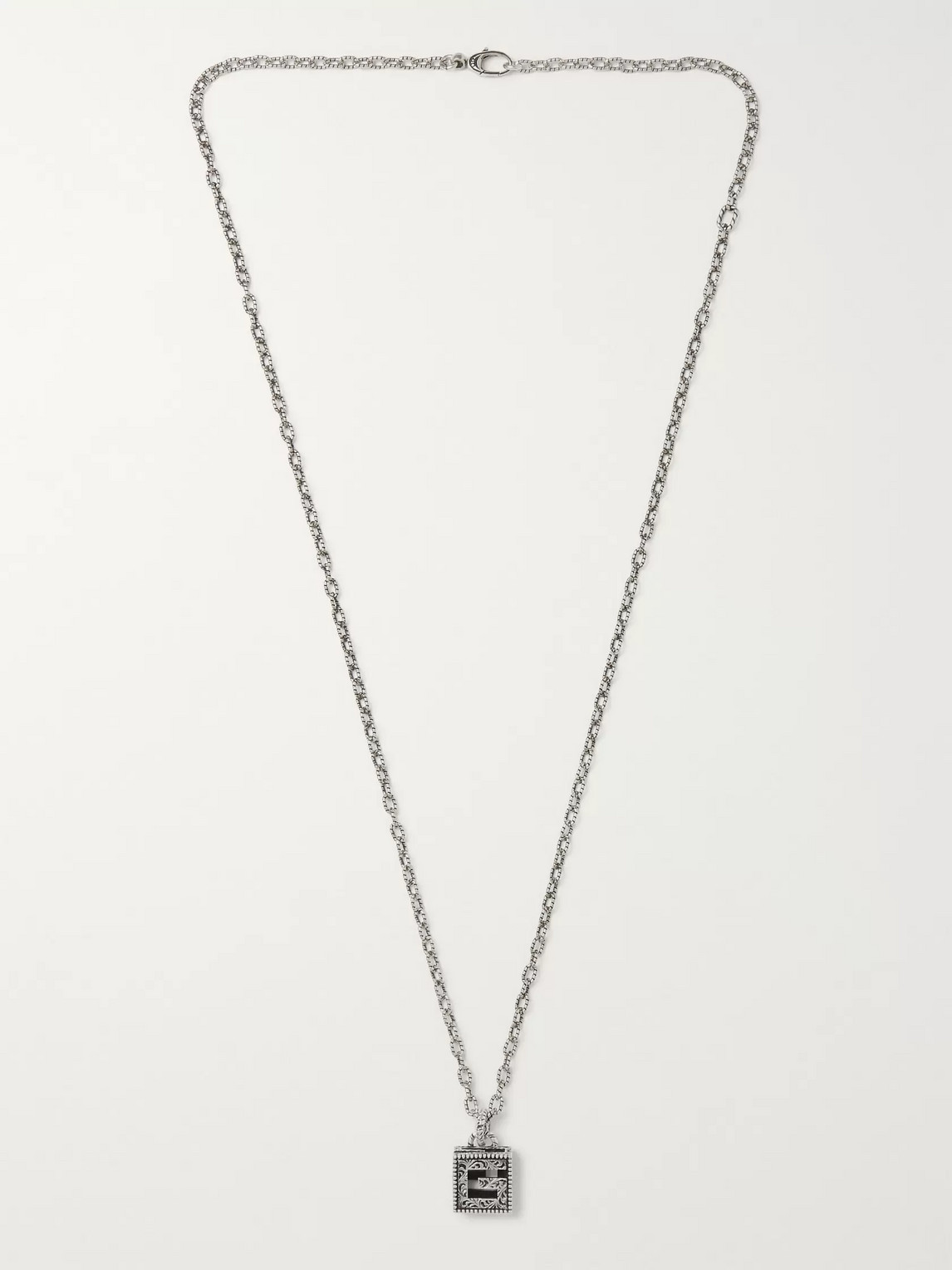 gucci - engraved burnished sterling silver necklace - men - silver