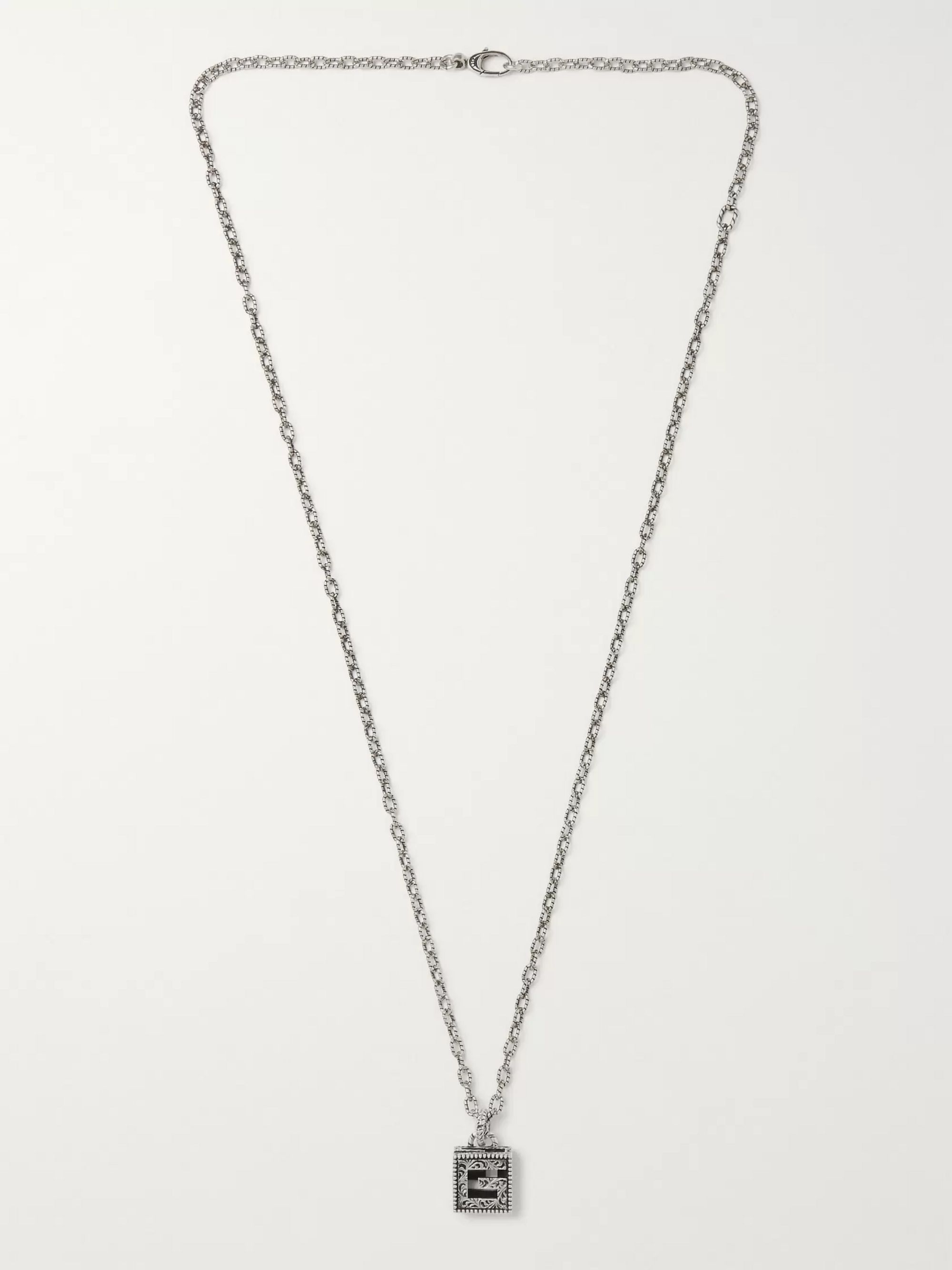 Gucci Engraved Burnished Sterling Silver Necklace