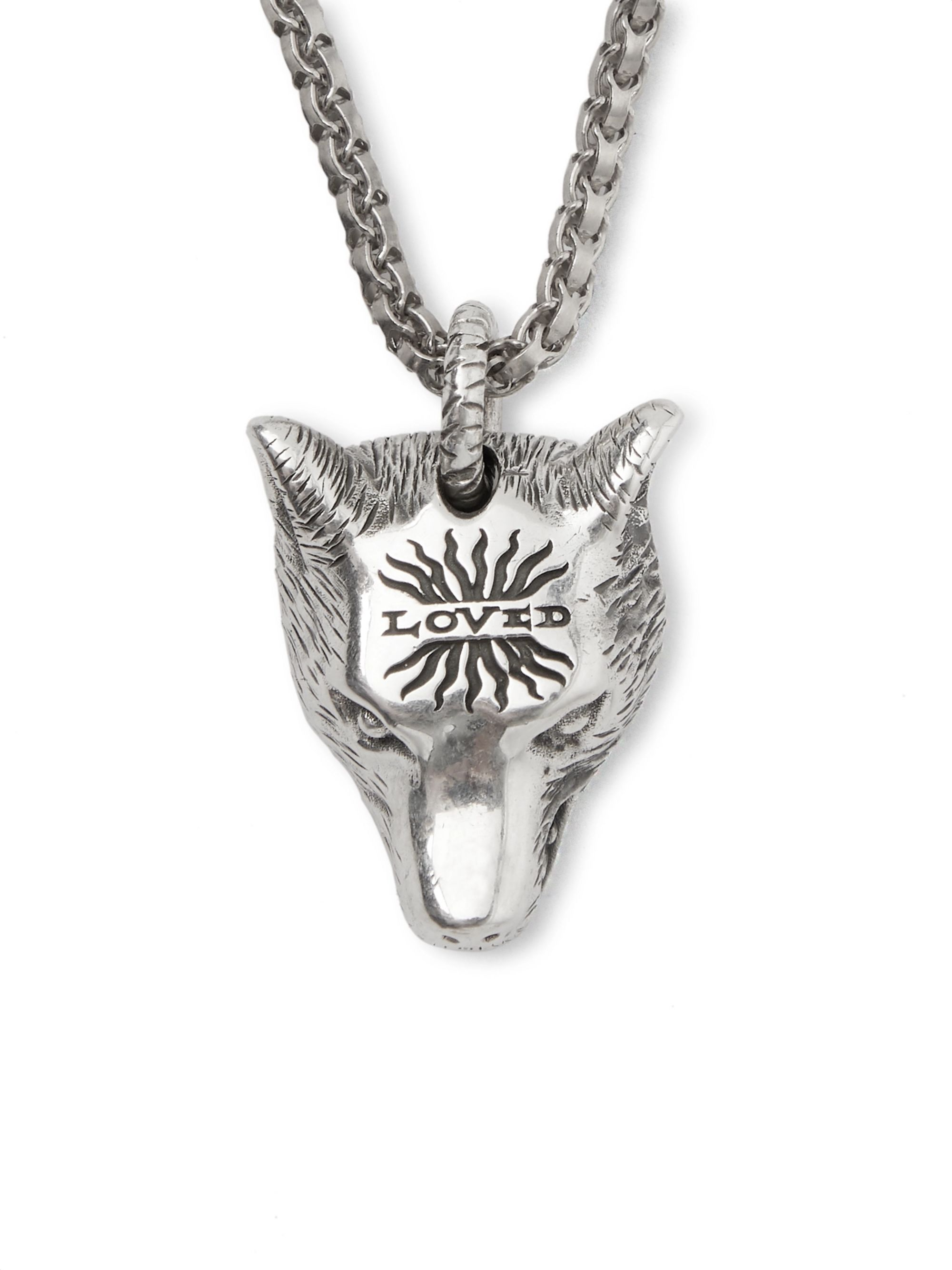 Gucci Anger Forest Wolf's Head Sterling Silver Necklace
