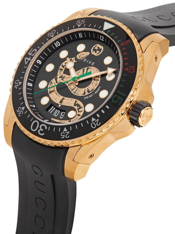 Gucci Dive 45mm Gold PVD-Coated Watch with Rubber Strap
