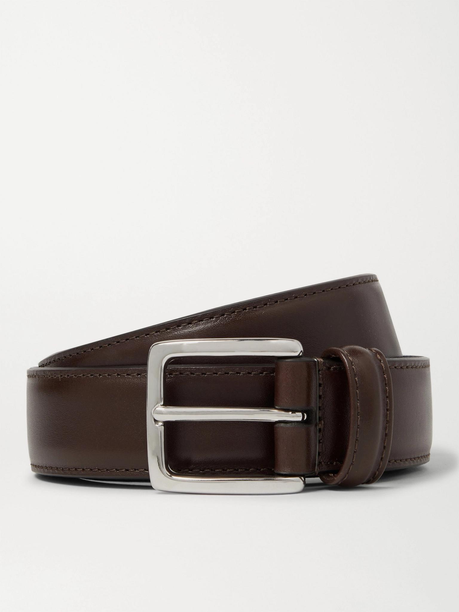 Anderson's 3cm Dark-Brown Leather Belt