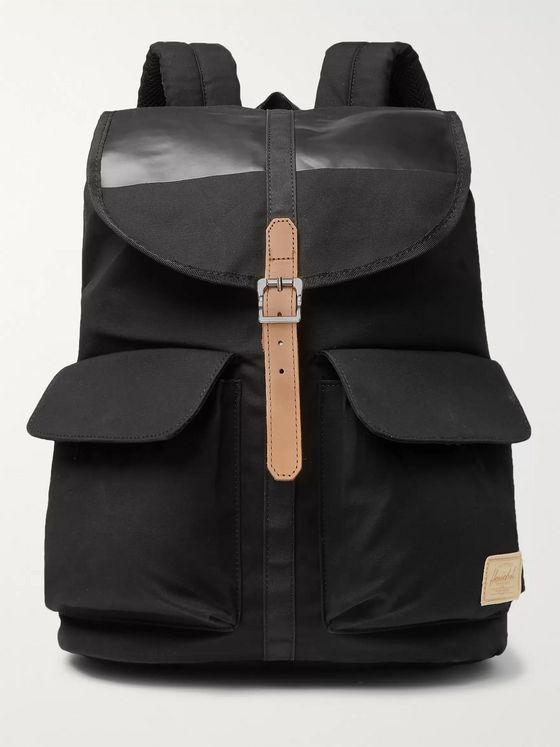 Herschel Supply Co Dawson Leather-Trimmed Waxed Cotton-Canvas Backpack