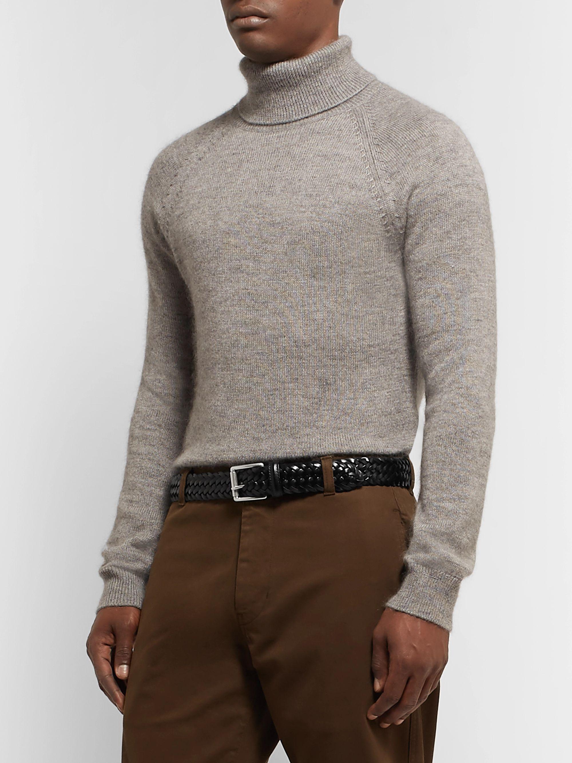 Black 3.5cm Woven Leather Belt | Anderson's