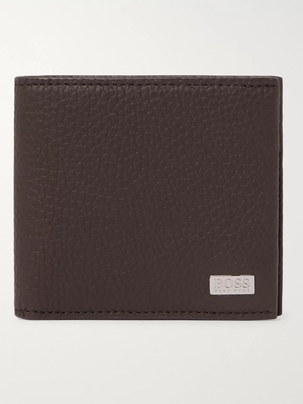 Hugo Boss Crosstown Logo-appliquéd Full-grain Leather Billfold Wallet In Brown