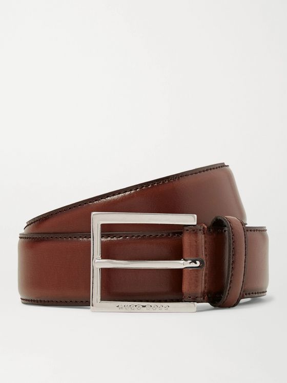 HUGO BOSS 3.5cm Canzino Brown Leather Belt