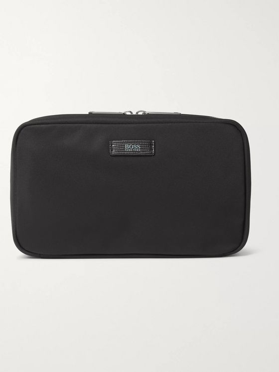 Hugo Boss Meridian Leather-Trimmed Shell Wash Bag