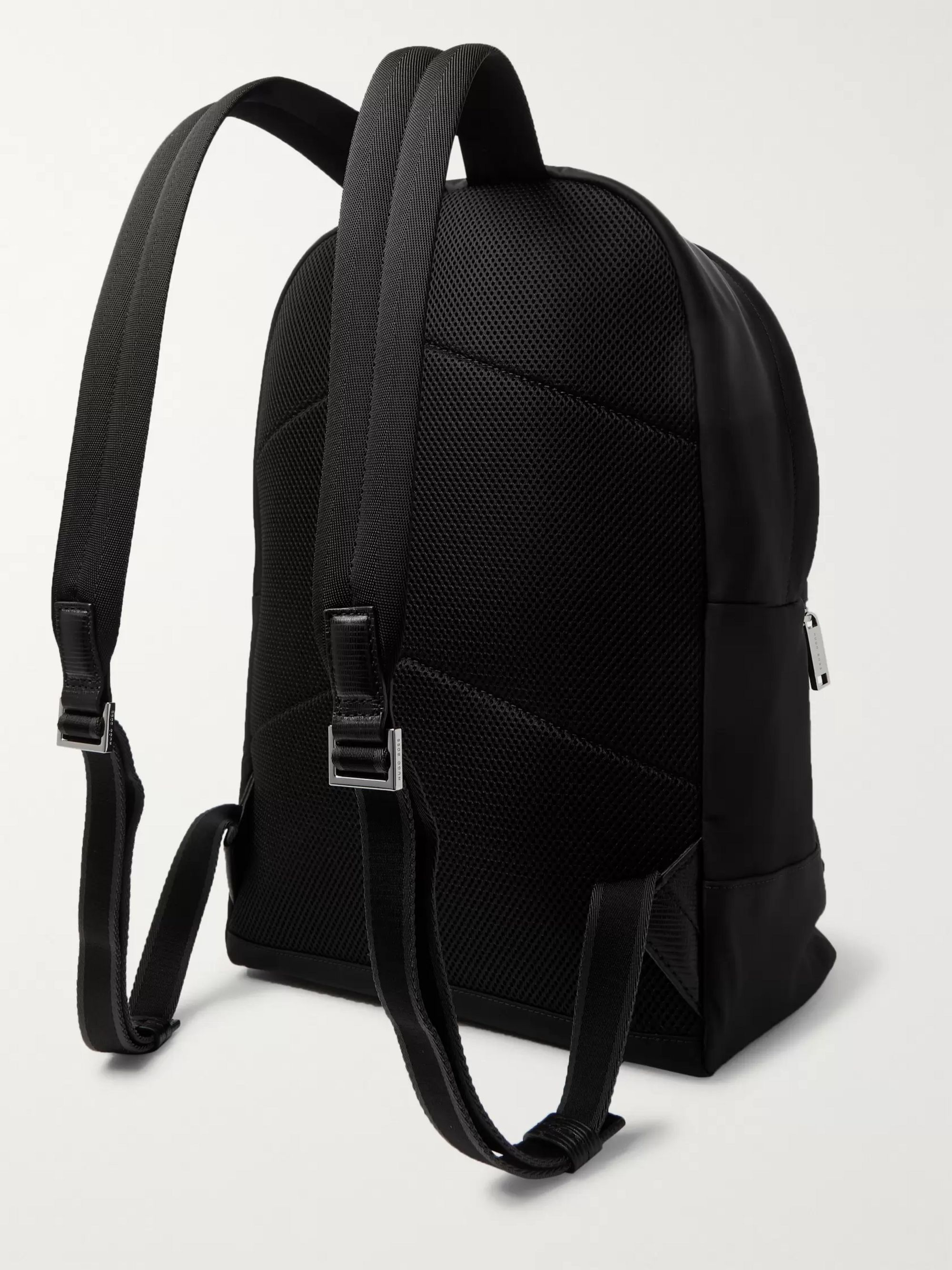 Hugo Boss Meridian Textured Leather-Trimmed Nylon Backpack