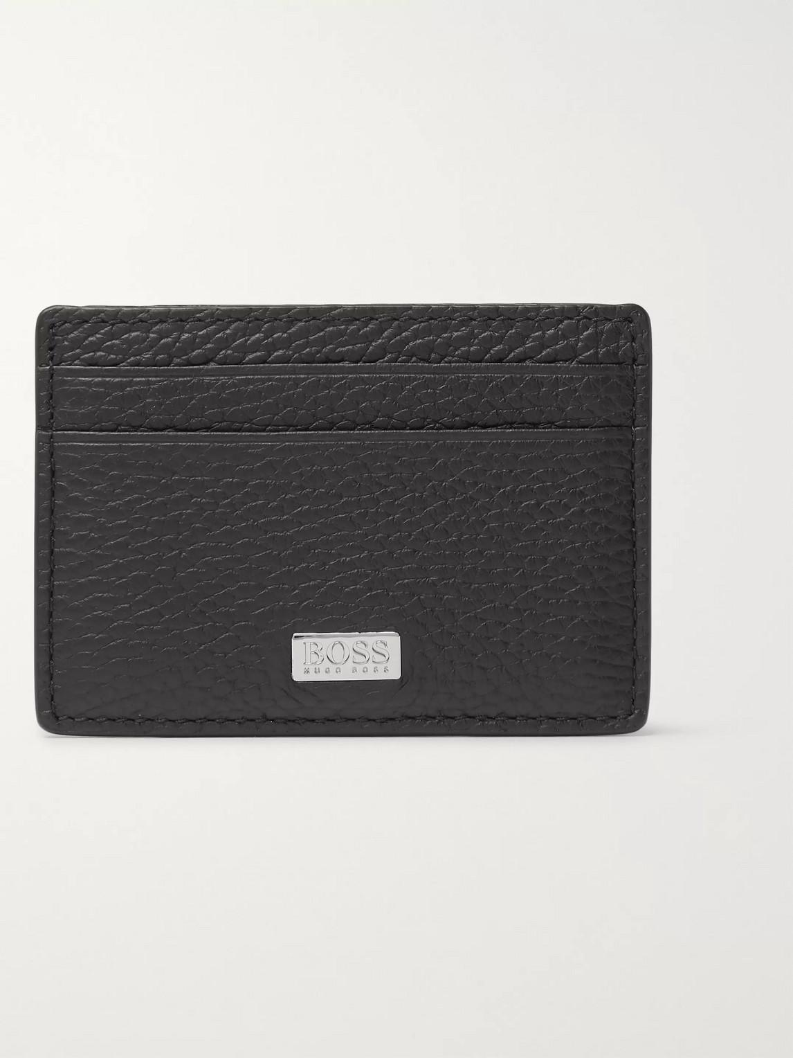 Hugo Boss Crosstown Full-grain Leather Cardholder With Money Clip In Black