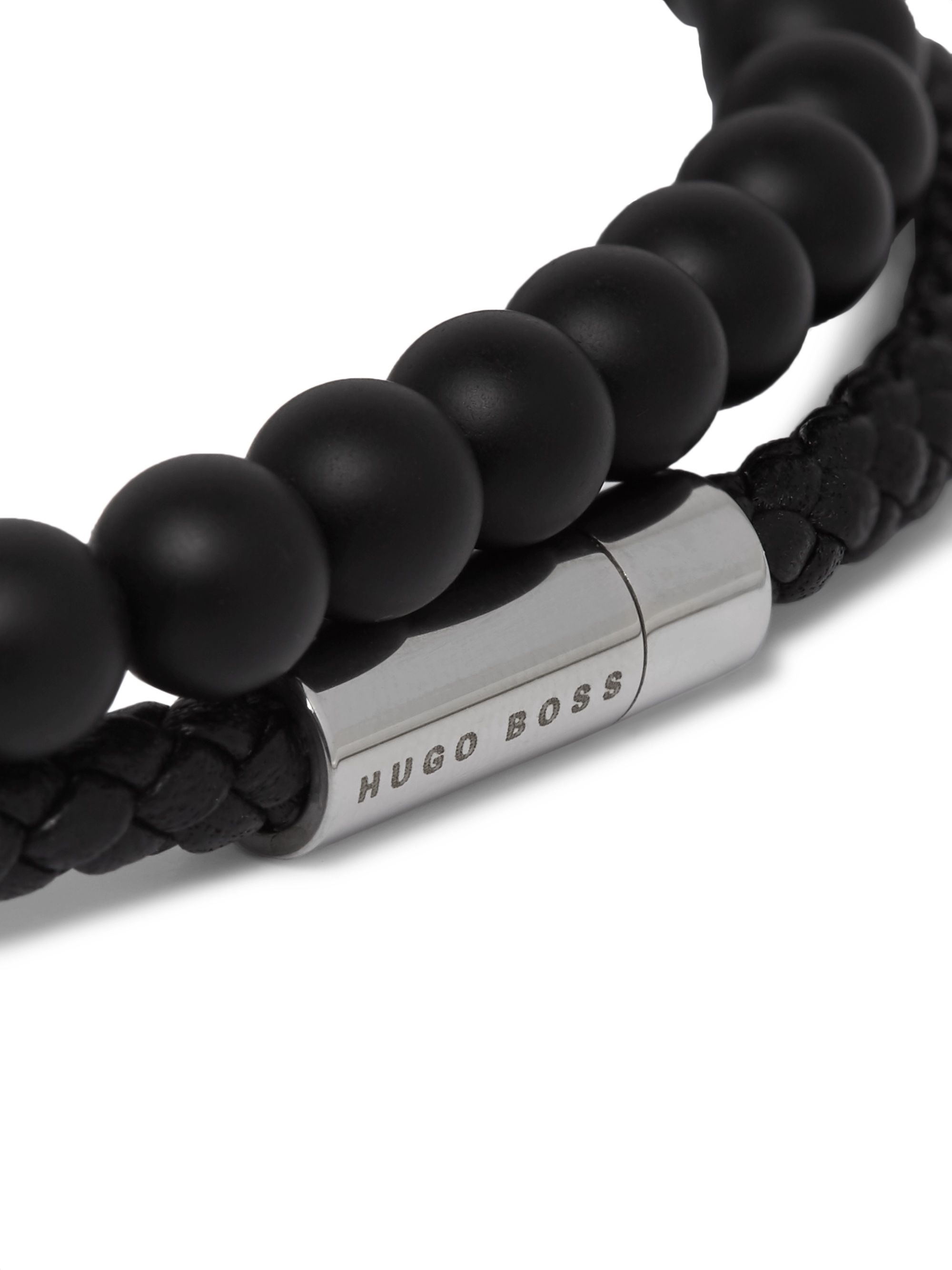 Hugo Boss Braided Leather and Beaded Wrap Bracelet