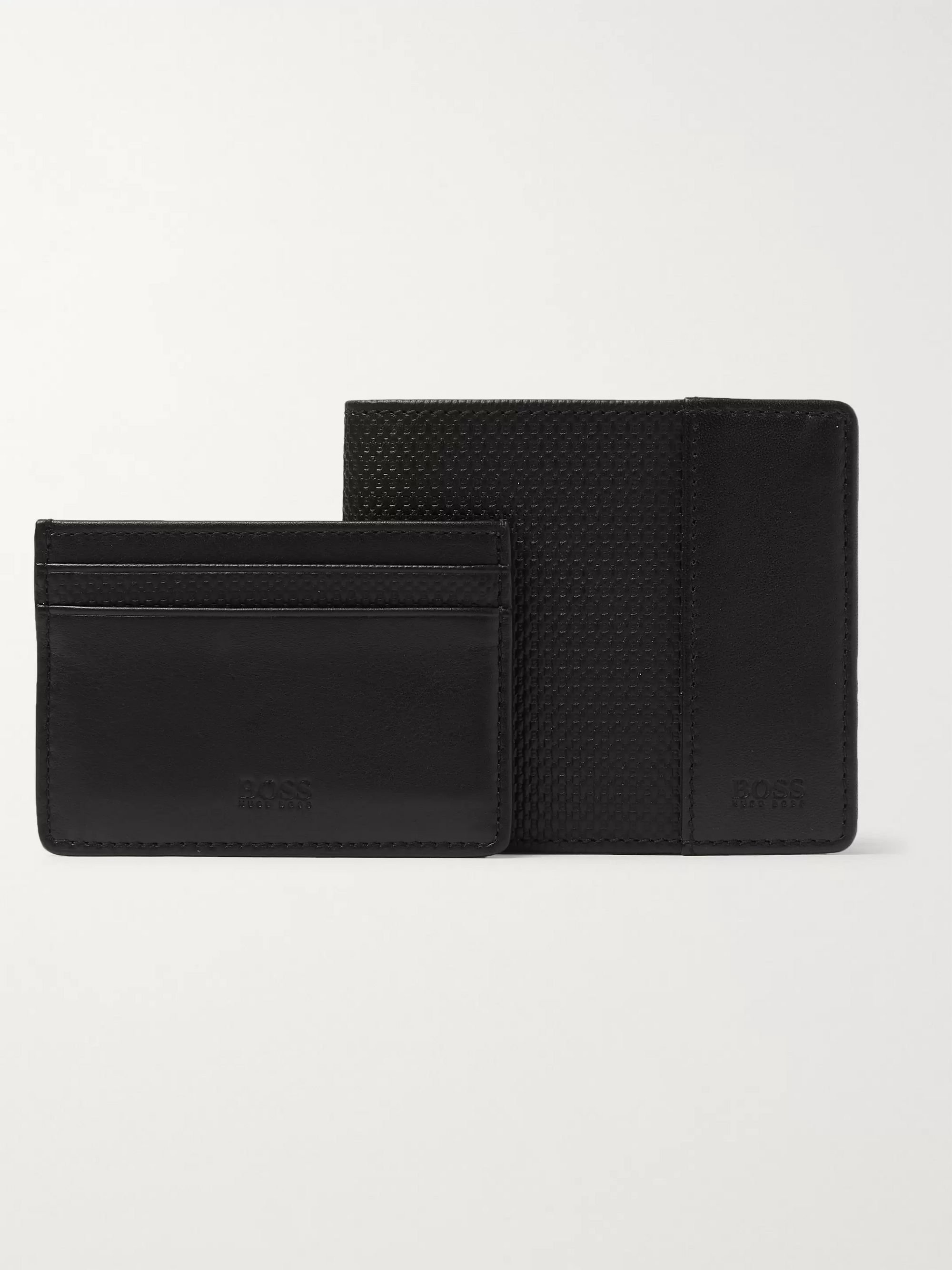 Hugo Boss Textured-Leather Billfold Wallet and Cardholder Set